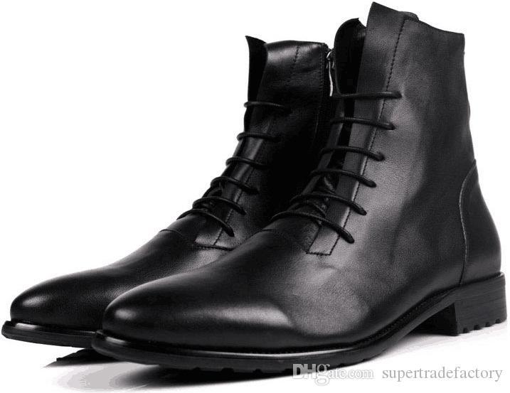 8a28c6d75 Compre Botines De Cuero Real Para Hombre Otoño Invierno Oxford Zapatos De  Tacón Alto Hombres Moda Punta Estrecha Cordones De Cuero De Vaca Botas  Militares ...