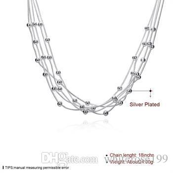 Partihandel - Retail Lägsta pris Julklapp, Gratis frakt, Ny 925 Silver Fashion Necklace YN213