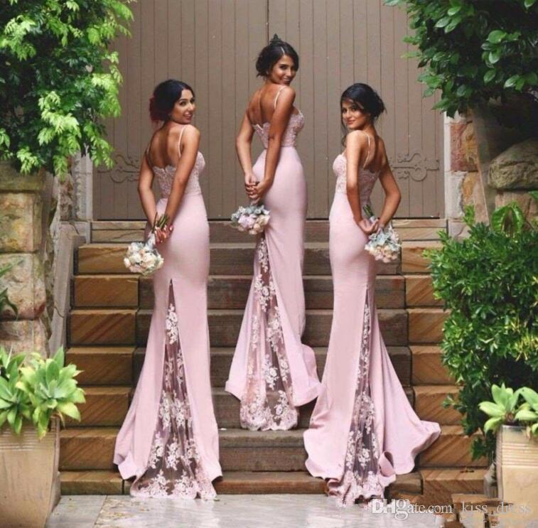 2019 nouvelle dentelle rose longue demoiselle d'honneur robe balayer train Sans manches Sangle Spaghetti Strap Sermaid Robes de Champs Custom Customing Selling B80