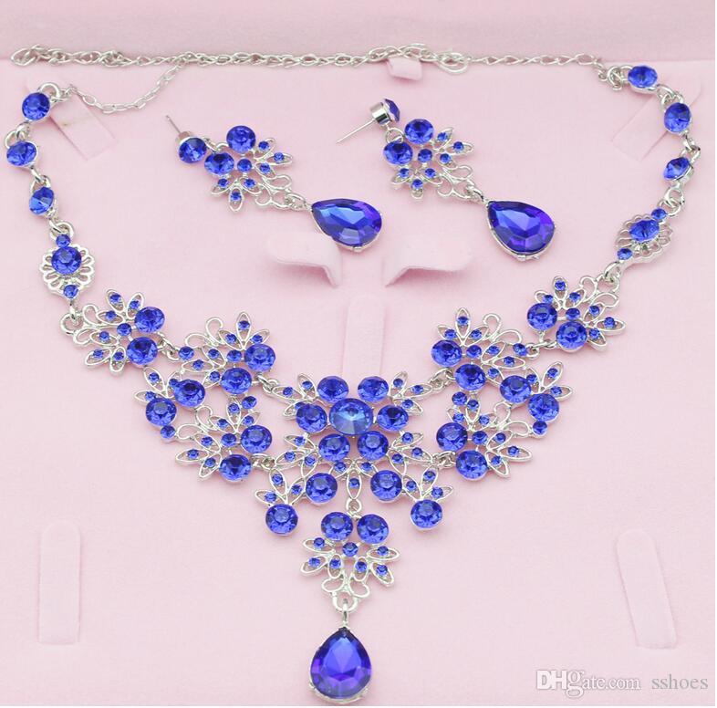 크리스탈 꽃 목걸이 귀걸이 라인 석 워터 드롭 신부 보석 세트 결혼식 저녁 파티 보석 빛나는 귀걸이 목걸이 세트