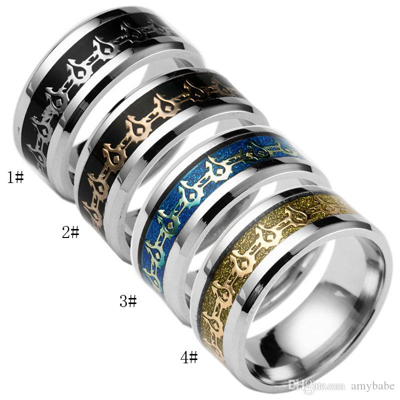 Titanium Steel Rings Men's Fashion Jewelry Personalized Ring Dark Tribal Signs Ring USA Size (From 6 # To 13 #)