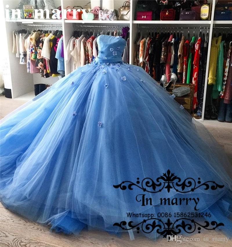 Plus Size Wedding Dresses Cinderella Ball Gown: Royal Blue Cinderella Pageant Prom Gowns 2017 Ball Gown 3d