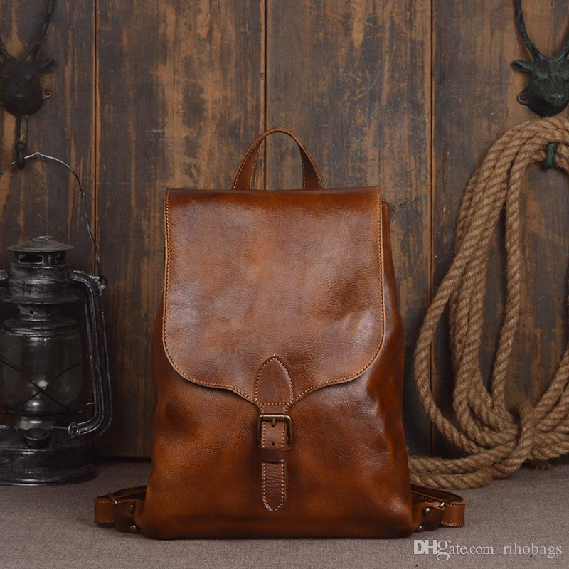 a8f91355c022 Handmade Women Men Classic Vegetable Tanned Leather Shoulder Bag Backpack  Bag Leather Backpack Mens Genuine Leather Backpack Mens Leather Bag Online  with ...