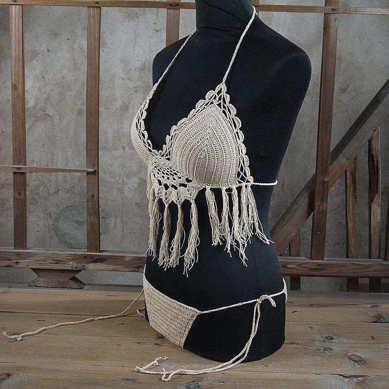 Women Sexy Crochet By Hand Swimsuit Crochet Bikini Set Boho Hollow Crochet tassel Swimwear custom colors