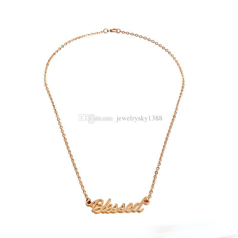 Gold Silver Plated Tiny Stamped Lucky Letters Necklace Simple Blessed Word Good Luck Necklaces for Friends