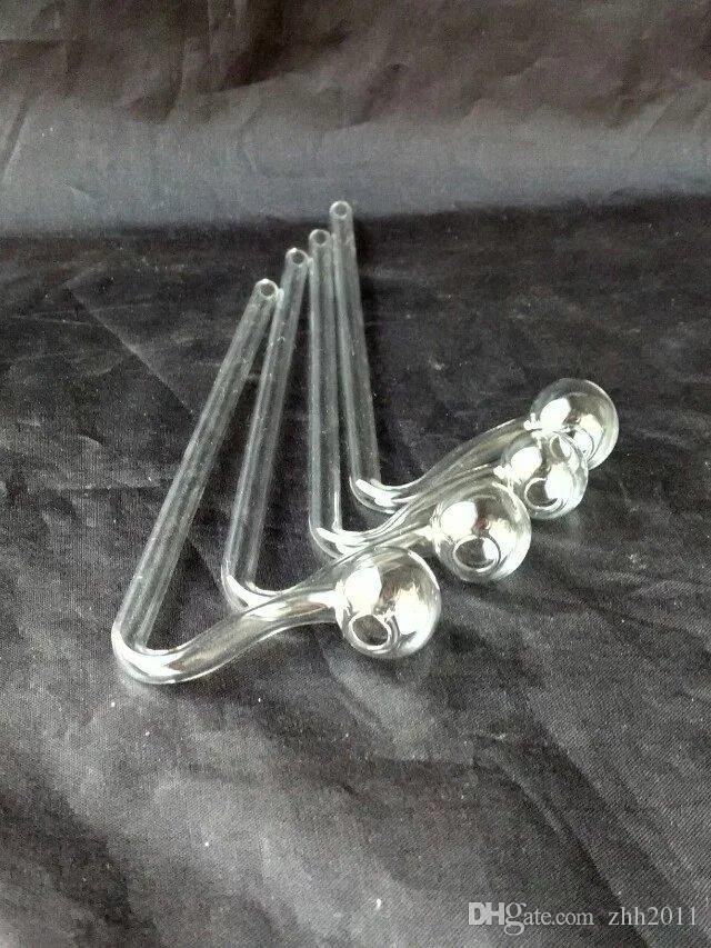 Accessori di bong di vetro curvo lungo, accessori di bong di vetro all'ingrosso, narghilé di vetro, tubo di fumo trasporto libero
