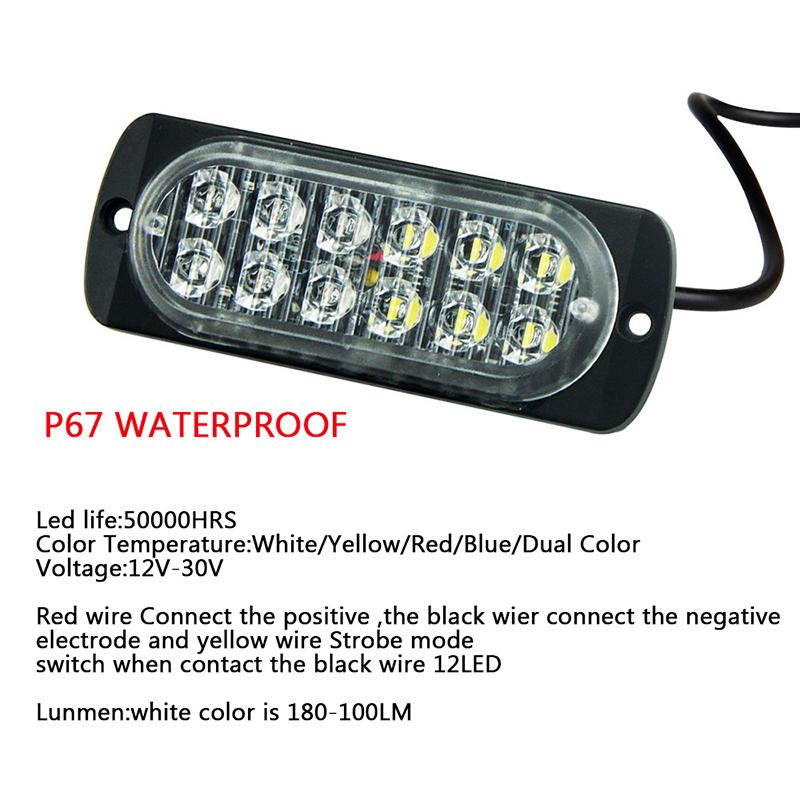 12led danger 12W suv truck with led chips dc 12-24V yellow car vehicle lights Width warning lamp engineering vehicle Ultra-thin Car police ligh Truck Emergency Warning light Flash Strobe Light Bar car-styling (1