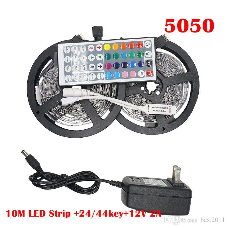 RGB LED Faixa de Luz 5050 5M 10M IP20 LED LEDs RGB Tape Fita Led Mini flexível IR Controlador DC12V adaptador Set