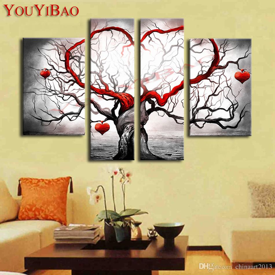 2018 Hand Painted Modern Abstract Decoration Heart Life Tree Oil ...