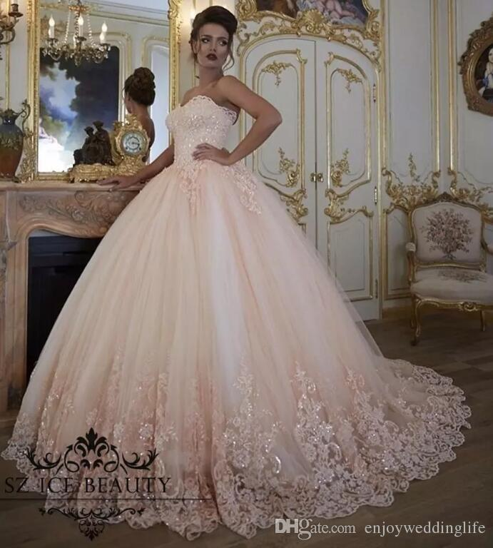 Blush Querida Vintage Vestidos De Noiva Peru Lace Appliqued Lantejoulas Tulle Vestido De Baile Puffy Vestidos De Noiva 2017 Custom Made Vestidos De Casamento