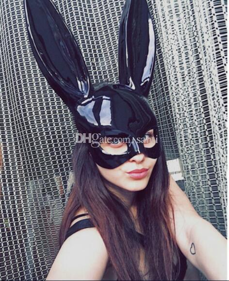 New Women Girl Party Rabbit Ears Mask Black White Cosplay Costume Cute Funny Halloween Mask