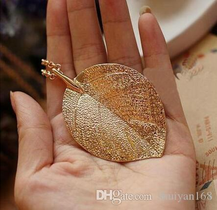 Leaf Design Jewelry Cheap Costume Jewelry Gold Plate Color Alloy Designer Pendant Necklace 2016 New for Women Fashion Female Jewelry
