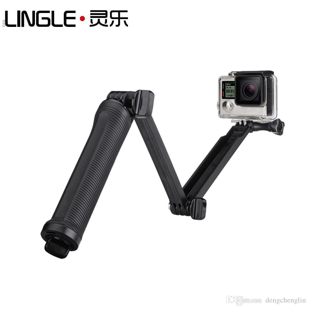 Action Cam Accessories Monopod 3-Way Multi-function folding arm self-timer lever tripod Mounts