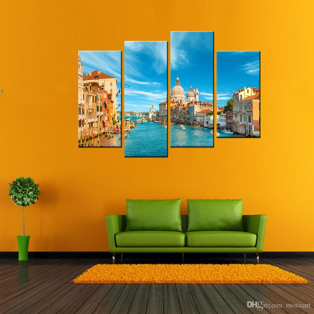 4 Panels Landscape Canvas Paintings Wall Art Venice Scenery Pictures Print On Canvas Artwork For Home Decor With Wooden Framed