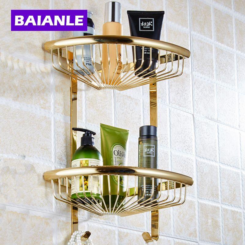2018 Golden Brass Bathroom Shelves 2 Tier Bathroom Storage Basket ...