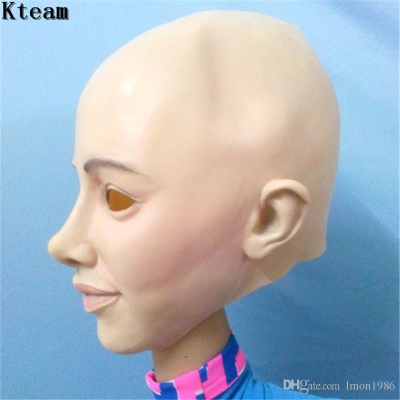 Realistic Female Mask For Halloween Human Female Masquerade Latex Party Mask Sexy Girl Crossdress Costume Cosplay Mask