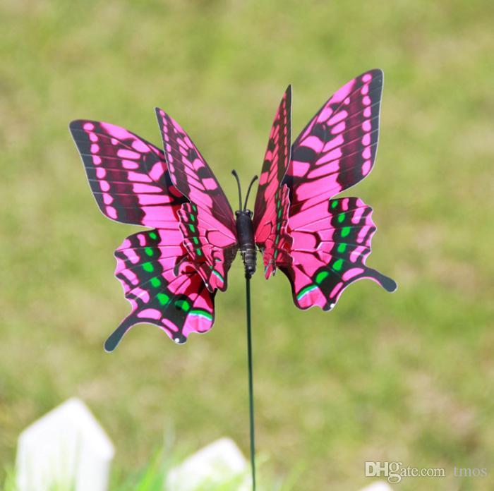 50 unids 12 cm colorido de dos capas de plumas grandes mariposas estacas adornos de jardín fuentes del partido decoraciones para el jardín exterior insectos falsos