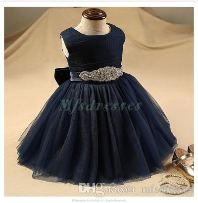 61235957ad Cute Diamond Belt Navy Blue Flower Girls Dresses For Wedding Knee Length  Girls Prom Dresses Short Baby Girl Birthday Party Dress Amazing Dresses Baby  Party ...
