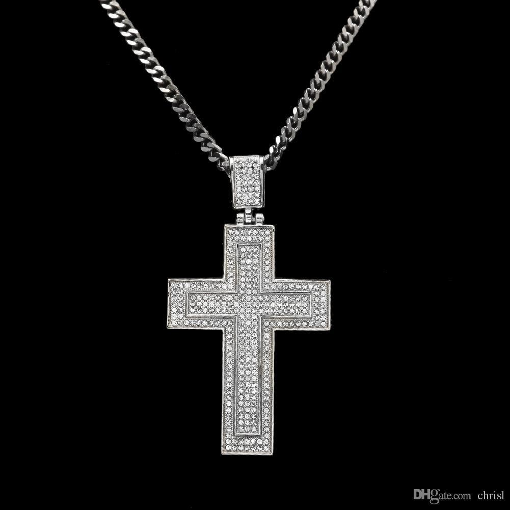 Wholesale Men Necklaces Black Hip Hop Pop Diamond Cross Pendant Full Drill Double Cross Necklace Double Diamond Necklace Key Necklace Bar Pendant Necklace From Chrisl 9 66 Dhgate Com