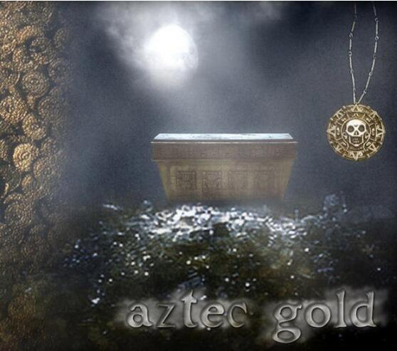 Vintage Bronce Oro Pirata Encantos Azteca Moneda Collar Hombres Película Collares pendientes para Dama Navidad Regalo Declaración Joyería
