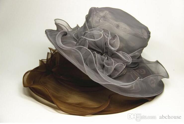 womens Organza Hat Kentucky Derby Wedding Church Party Floral Hat wide brim sun summer hats for women