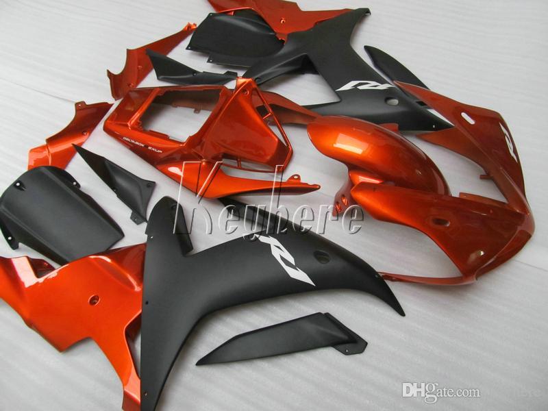 Kit carénage en plastique de haute qualité pour Yamaha YZF R1 02 03 carénage carénage orange noir brûlé YZF R1 2002 2003 OI33