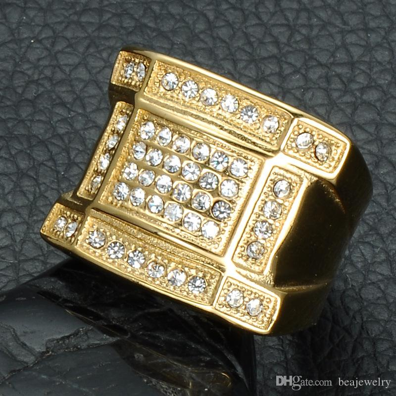 Hip Hop Micro Pave Rhinestone Iced Out Bling Geometric Ring IP Gold Filled Titanium Stainless Steel Rings for Men Jewelry