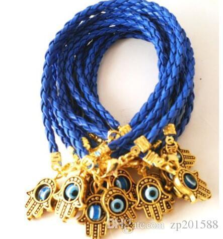 Charms dell'oro dell'annata Kabbalah Hamsa mano in pelle mista String Red Cuff Good Luck Woven Bracelets Bangles accessori dei monili N1922