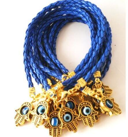 Charms Kabbalah ouro Vintage Hamsa Mão Mixed Corda vermelha Cuff Good Luck tecido de couro Pulseiras Bangles Jóias Acessórios N1922