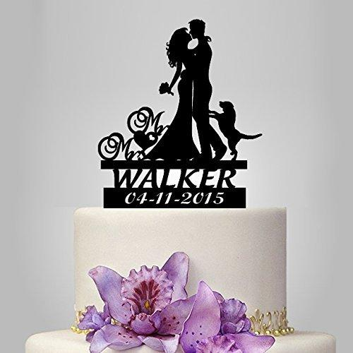 2018 Wholesale Wedding Cake Toppers Bride And Groom Silhouette With Dog Custom Name Mr Mrs Decoration Casamento From Baibuju8