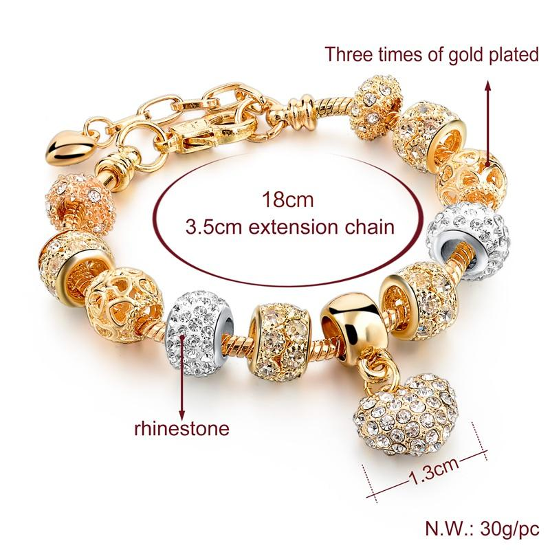 2016 New Gold Color Heart Bracelets For Women DIY Charm Bracelets Bangles  Luxury Famous Brand Jewelry SBR160056 Bracelet Beads Bracelets Bracelets  Online ... 8842934ffe8a