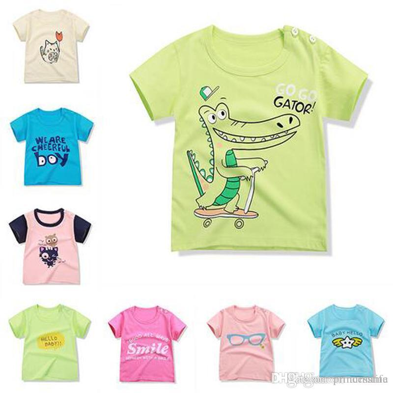 8656b38b344 2019 Hottest Summer Cartoon Baby T Shirt Boys Girls Clothing T Shirts Kids  Short Sleeve Tops Kids Clothing 18 Styles Baby Clothes From Princesslife