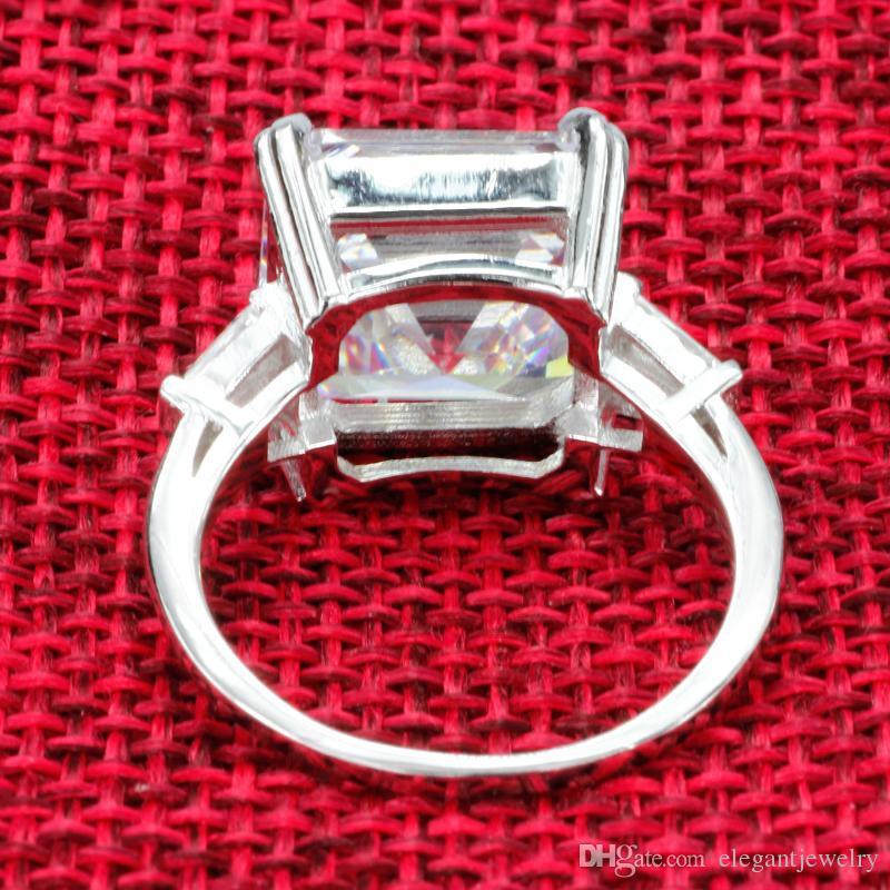 Nouveau! Réel 925 Sterling Silver Luxury Asscher Cut Diamond Bague de Fiançailles De Mariage pour les Femmes Argent Radiant Cut Bague Bijoux N64