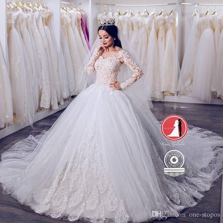 Vintage Lace Ball Gowns Puffy Wedding Dresses 2017 Modest Long ...