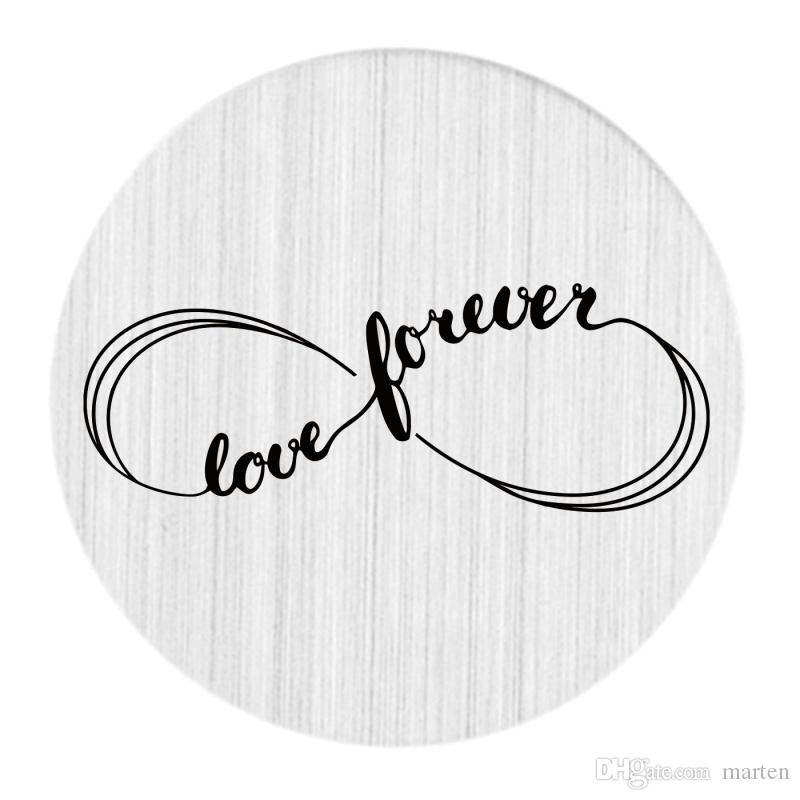 22mm Brushed Stainless Steel Large Floating Living Memory Charm Locket Necklace Message Backplate Jewelry - Love Forever