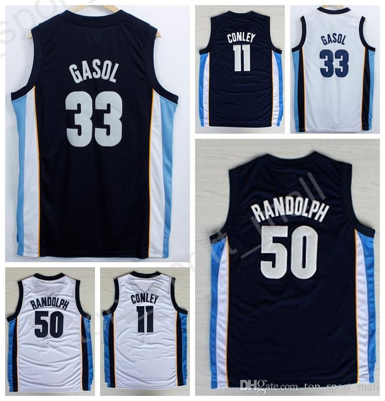 2017 Wholesale 11 Conley Basketball Jerseys Mike Conley Blue White Color 50  Zach Randolph 33 Marc Gasol Jersey Sport All Stitching High Quality From ...