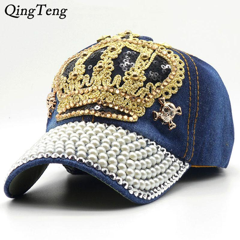 luxury women baseball cap brand crown womens hats with bling caps
