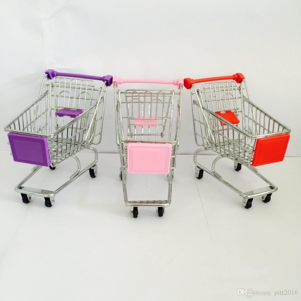 Fashion Mini Supermarket Hand Trolleys Mini Shopping Cart Desktop Decoration Storage Phone Holder Baby Toy DHL