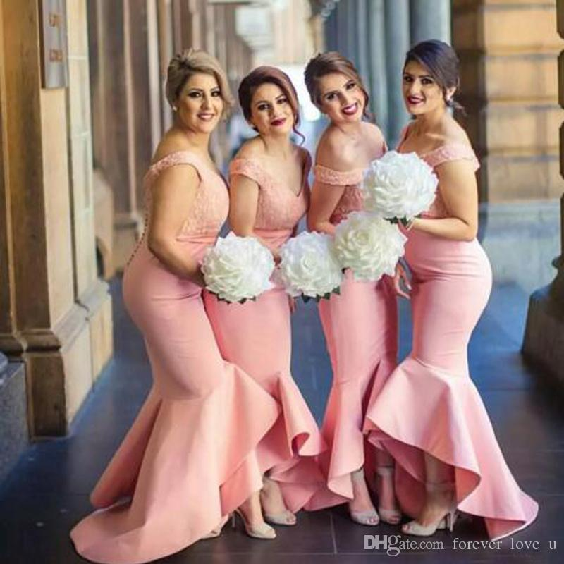 2017 Fitted Bridesmaids Dresses Blush Pink Coral Peach Off The Shoulder  Lace Top High Low Asymmetrical Skirt Bridemaid Dress For Wedding Flowy  Bridesmaid ... 52c2de7c0165