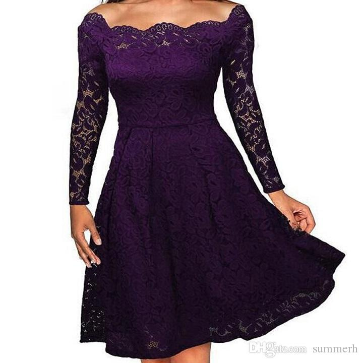 Robe Femme 2017 Women Summer Embroidery Sexy Lace Off Shoulder Dresses Long Sleeve Casual Evening Party A Line Plus size Dress