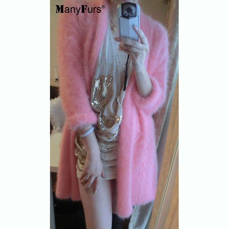 2017 fashion Top kojah velvet design long fur sweater cardigan genuine mink cashmere coat women knitted mink jacket