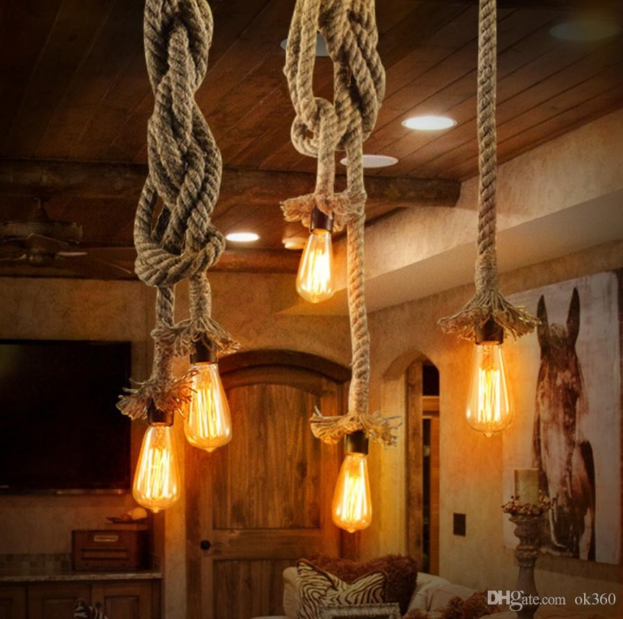 vitage loft rope pendant light edison lamp american style e27 e14 110v 220v industrial led. Black Bedroom Furniture Sets. Home Design Ideas