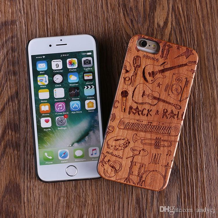 For iPhone 5 6 6Plus 7 7Plus Cool Rock Music Instrument Wood Case For SAMSUNG Galaxy S6 S7 Edge S8 plus