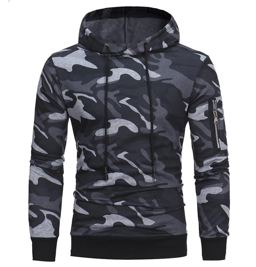 위장 후드 티 남자 2018 풀오버 후드 지퍼 긴 소매 남성 스포츠 후드 스웨터 무료 배송 간단한 스타일 2017 패션 포켓