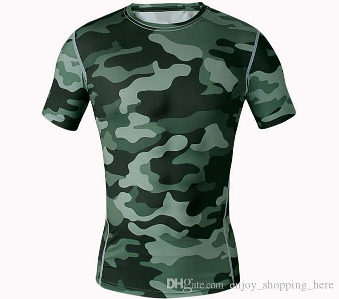 Men T-shirts Short Sleeve O-neck Compression Tops Tights Camo Workout Clothes Gyms Slim Fit Tracksuit Bodybuilding Wear Blue t shirt