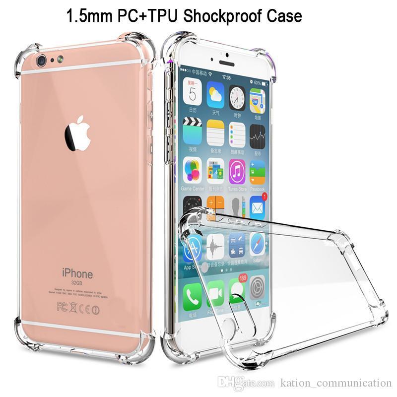 Odporna na wstrząsy Przezroczysty przypadek dla iPhone X 8 7 6 6S plus PC + TPU Gruba 1,5 mm Case Clear Powrót Pokrywa