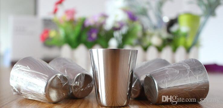 DHL Freies Verschiffen 100 teile / los 30 ml Portable Edelstahl Schnapsgläser Barware Bier Wein Trinkglas Außen Tasse