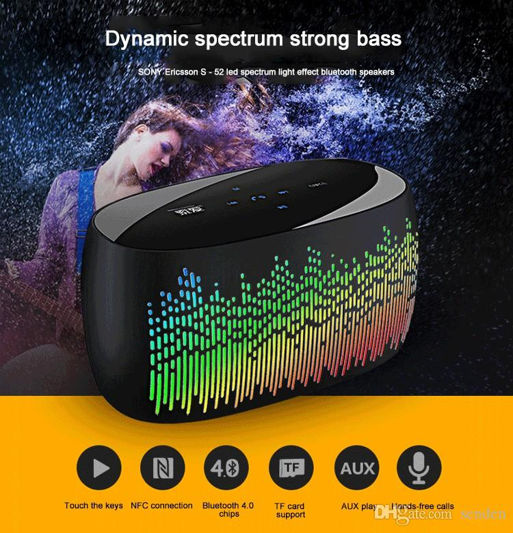 Colorful Music LED dance lights Pulse Speaker S-52 Soaiy Touch Bluetooth Speaker with LED Spectral lamp effects TF Card MP3 player Subwoofer
