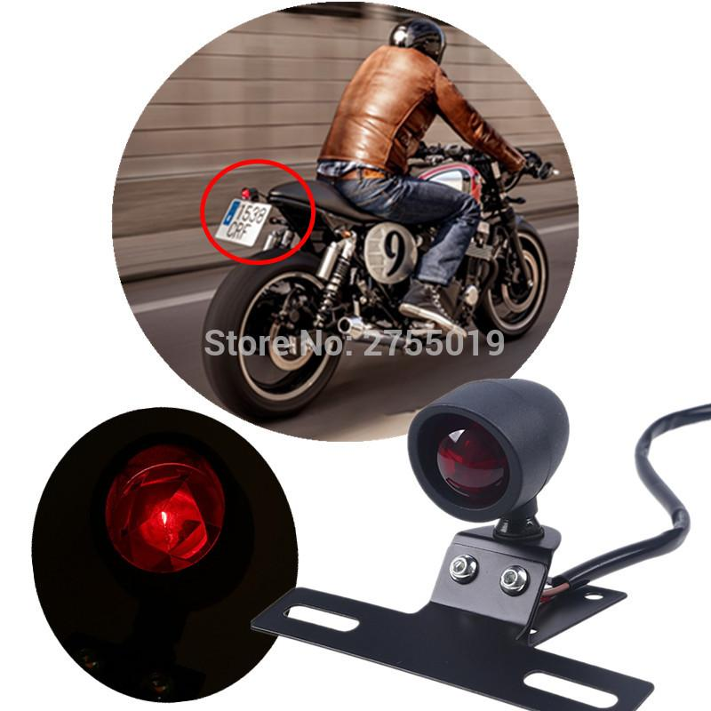 Black Middle Mount Tail Light License Plate Bracket Light For Harley ...