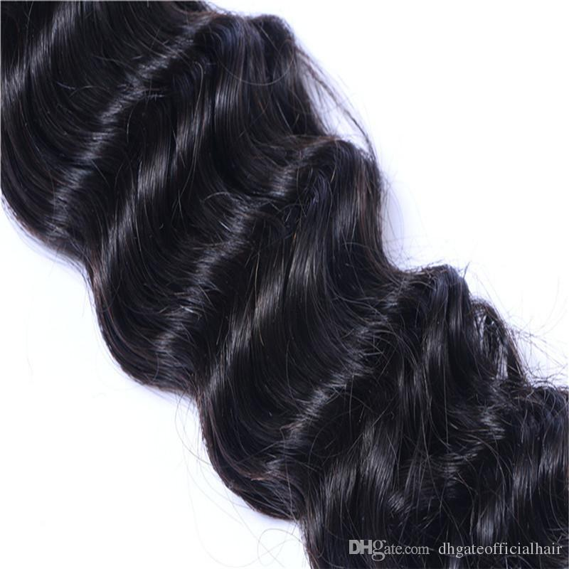 Human Hair Weft Deep Wave Hair Bundles Weaves Hair Weave No shedding,tangling free With Wholesale Price